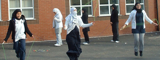 Girls skipping