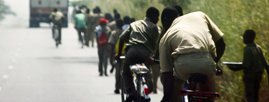 Students cycling in Togo